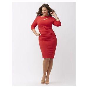 Sexy Cutout Red Dress Flattering Shaper Plus